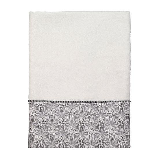 Avanti Deco Shell White Embroidered Bordered Bath Towel