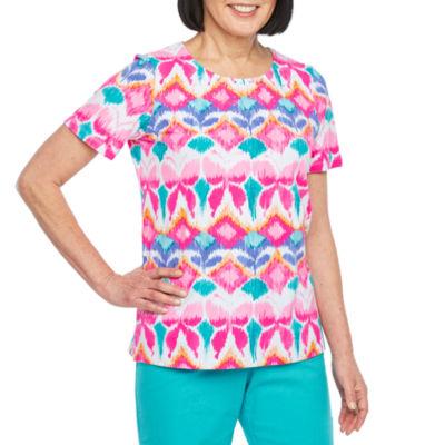 Alfred Dunner-Womens Crew Neck Short Sleeve T-Shirt