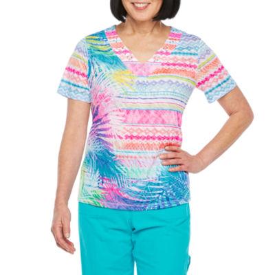Alfred Dunner-Womens V Neck Short Sleeve T-Shirt