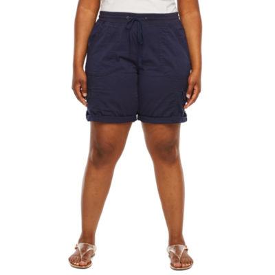 Supplies by UNIONBAY Womens Stretch Drawstring Waist Convertible Bermuda Short - Plus