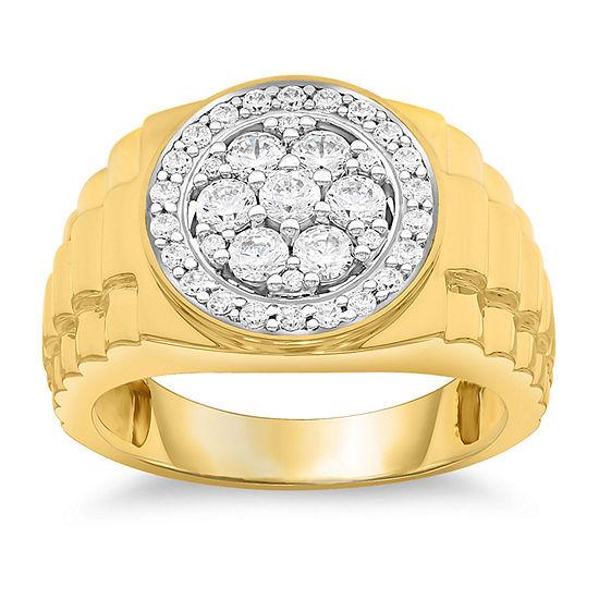 Mens 1 Ct Tw Genuine White Diamond 10k Gold Fashion Ring