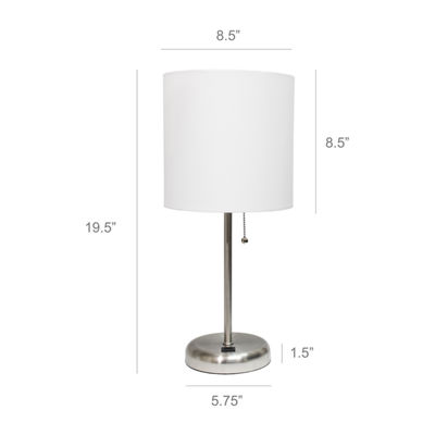 Stick Lamp With Usb Port Wht Iron Table Lamp