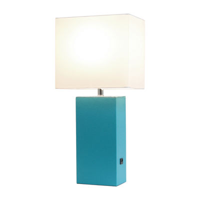 Leather Lamp With Usb Tel Manufactured Wood Table Lamp