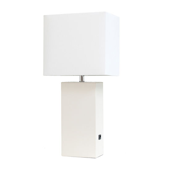 Leather Lamp With Usb Wht Manufactured Wood Table Lamp