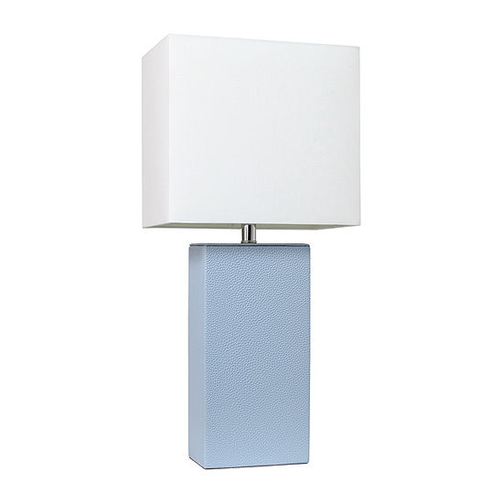 Leather Lamp Periwinkle Manufactured Wood Table Lamp