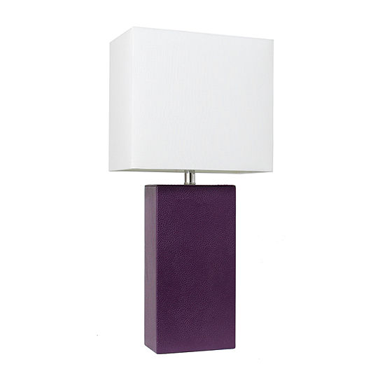 Leather Lamp Eggplant Manufactured Wood Table Lamp