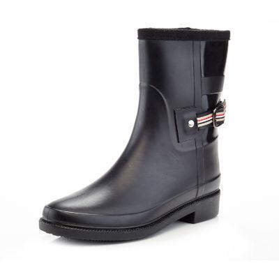 Henry Ferrera Womens England Short Rain Boots Water Resistant Flat Heel Pull-on
