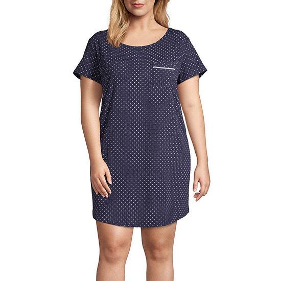 Liz Claiborne Womens Short Sleeve Plus Nightshirt