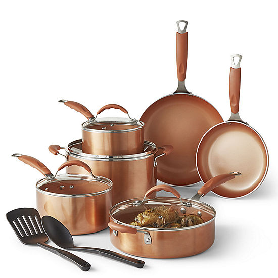 Cooks Ceramic 12-Pc. Cookware Set (Brown)