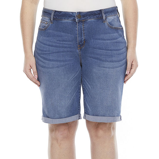 "a.n.a Womens Mid Rise 11"" Bermuda Short-Plus"