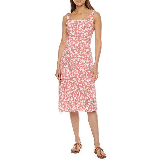 52seven Sleeveless Floral Midi Fit & Flare Dress