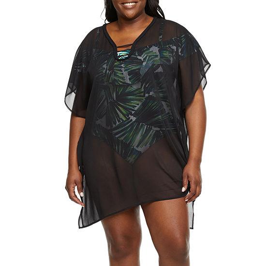 Sonnet Shores Womens Leaf Dress Swimsuit Cover-Up Plus
