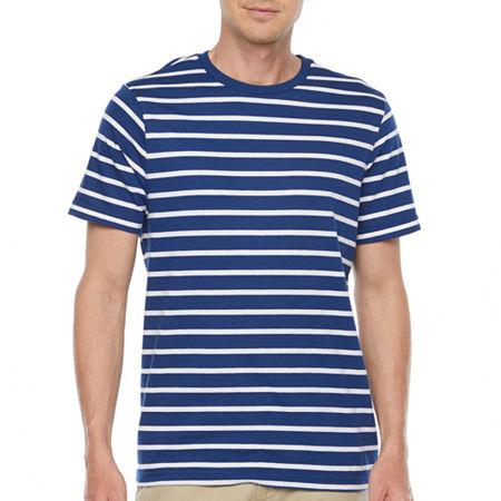 1950s Mens Shirts | Retro Bowling Shirts, Vintage Hawaiian Shirts St. Johns Bay Mens Crew Neck Short Sleeve Striped T-Shirt Large  Blue $7.49 AT vintagedancer.com