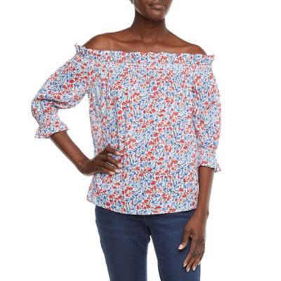 St. John's Bay Womens Straight Neck 3/4 Sleeve Blouse