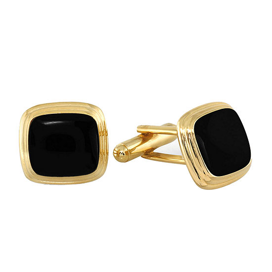 Stepped Cushion Black Enamel Cuff Links