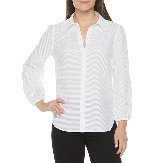 Liz Claiborne Womens 3/4 Sleeve Loose Fit Button-Down Shirt