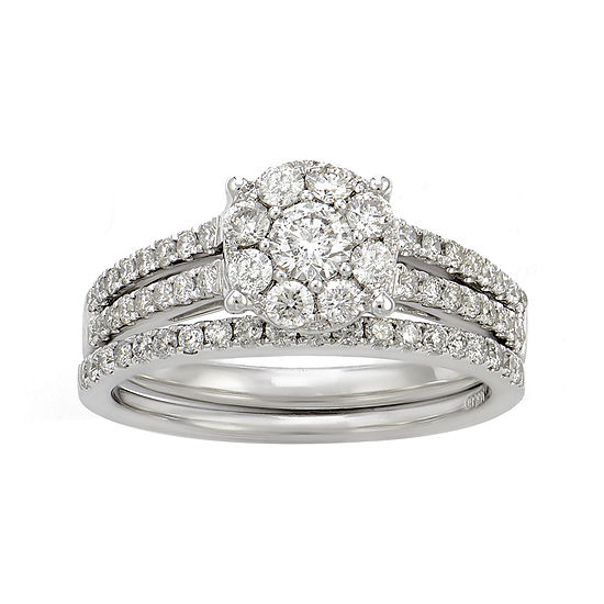 Limited Quantities 1 Ct Tw Diamond 14k White Gold Bridal Ring Set