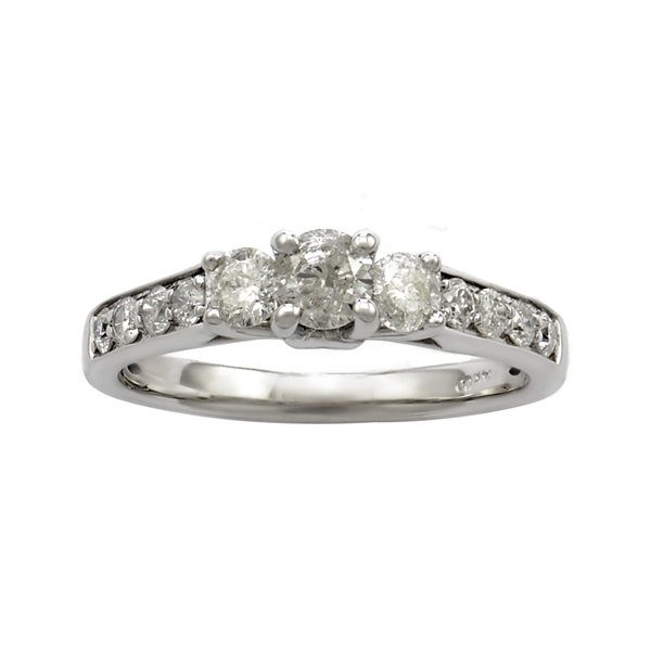 LIMITED QUANTITIES 1 CT. T.W. Diamond 14K White Gold 3-Stone Ring