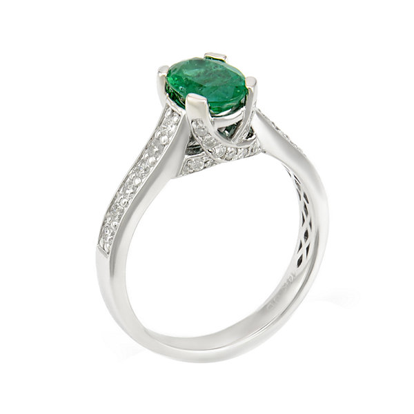 LIMITED QUANTITIES  Genuine Emerald & 3/8 CT. T.W. Diamond 14K White Gold Ring