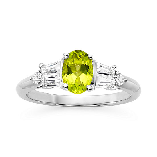 Genuine Peridot Lab Created White Sapphire Sterling Silver 3 Stone Ring