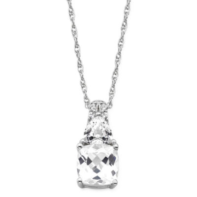 Lab-Created White Sapphire Sterling Silver Pendant Necklace