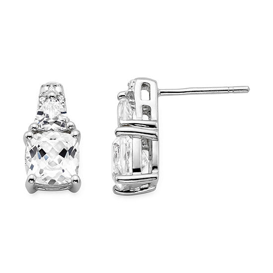 Lab Created White Sapphire Sterling Silver Earrings