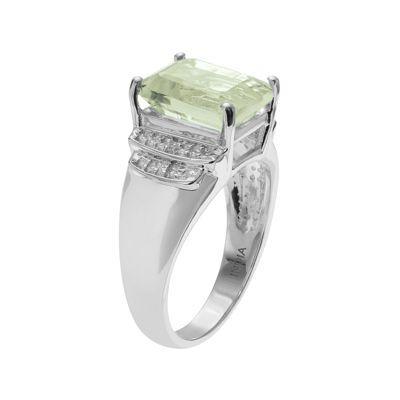 Genuine Green Quartz and White Topaz Sterling Silver Ring