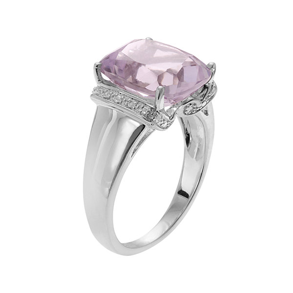 Genuine Pink Amethyst and White Topaz Sterling Silver Ring