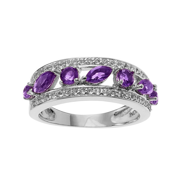Genuine Amethyst & White Topaz Sterling Silver Band Ring