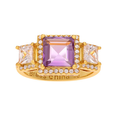 Genuine Amethyst White Topaz 14K Yellow Gold Over Brass Ring