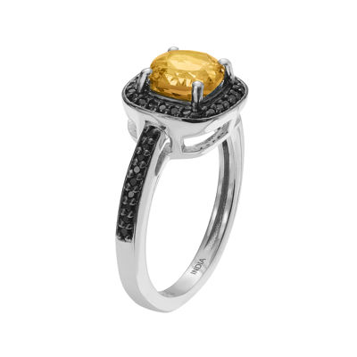 Genuine Citrine & Black Spinel Sterling Silver Ring