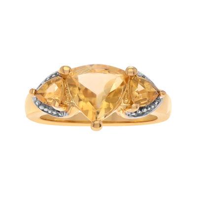 Genuine Citrine & White Topaz 14K Gold Over Silver Ring