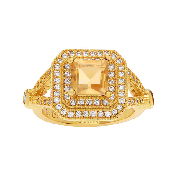 Genuine Citrine & Cubic Zirconia 14K Gold Over Brass Ring