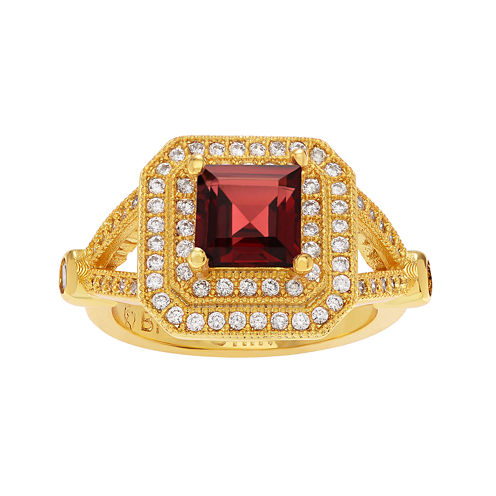 Genuine Garnet and Cubic Zirconia 14K Gold Over Brass Ring