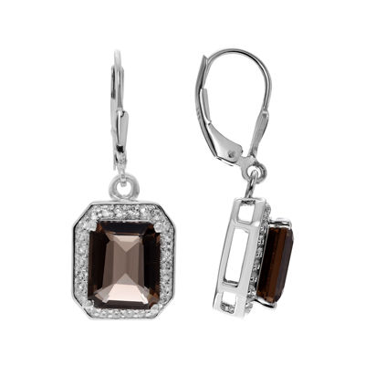 Genuine Smoky and White Topaz Sterling Silver Dangle Earrings