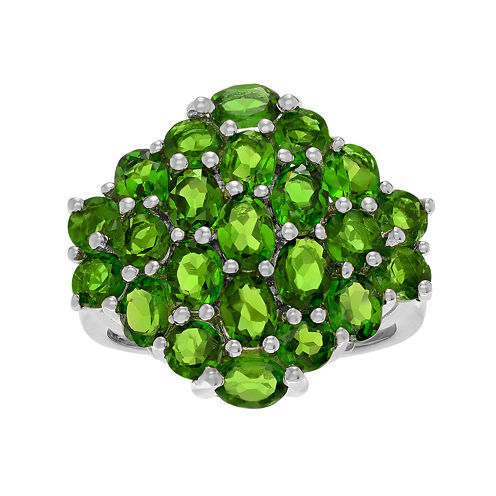 Genuine Chrome Diopside Sterling Silver Cluster Ring