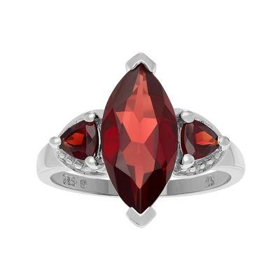 Genuine Garnet Three-Stone Sterling Silver Ring