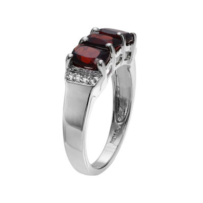 Genuine Garnet & White Topaz Sterling Silver Ring
