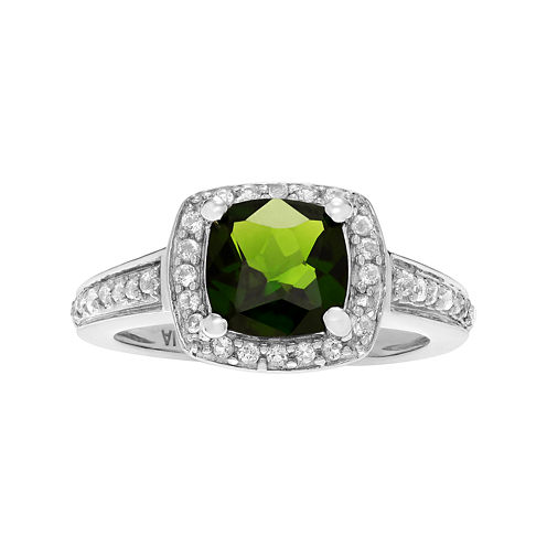 Genuine Diopside and White Topaz Sterling Silver Ring