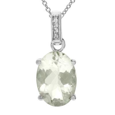 Genuine Green Amethyst & White Topaz Sterling Silver Pendant