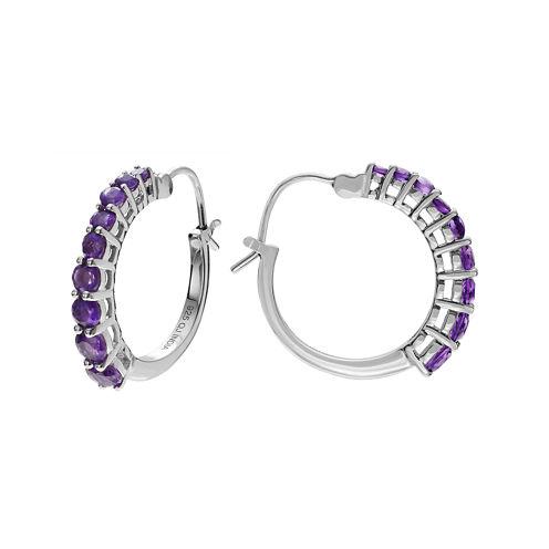 Genuine Amethyst Sterling Silver Hoop Earrings