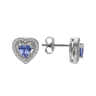 Journee Collection Genuine Tanzanite and White Topaz Heart Stud Earrings
