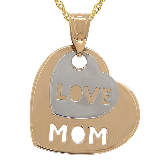 Infinite Gold™ 14K Gold Two-Tone Mom Love Heart Pendant Necklace
