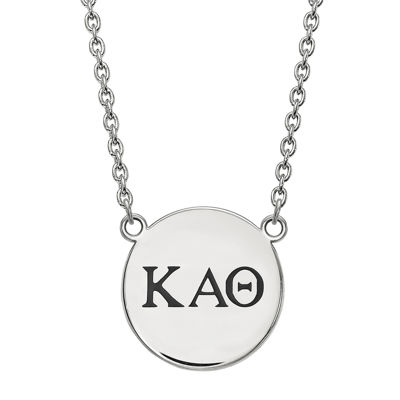 Personalized Sterling Silver Sorority Disc Pendant Necklace