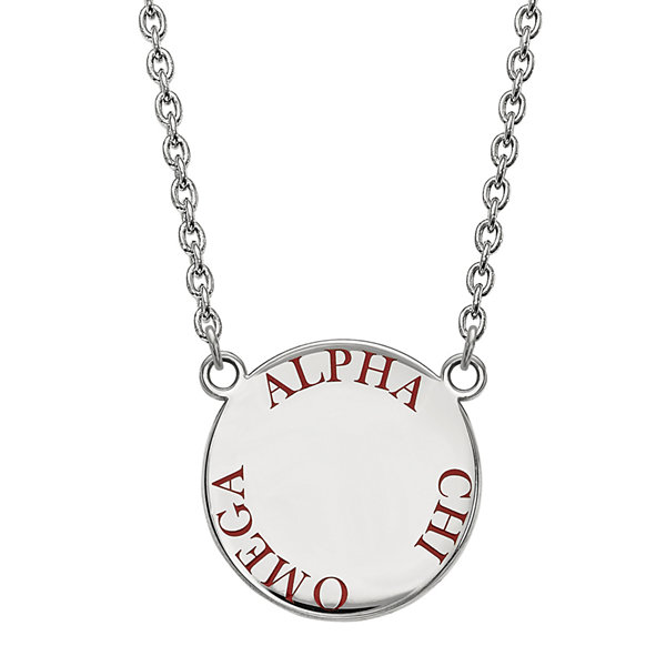Sterling Silver Enamel Alpha Chi Omega Disc Pendant Necklace