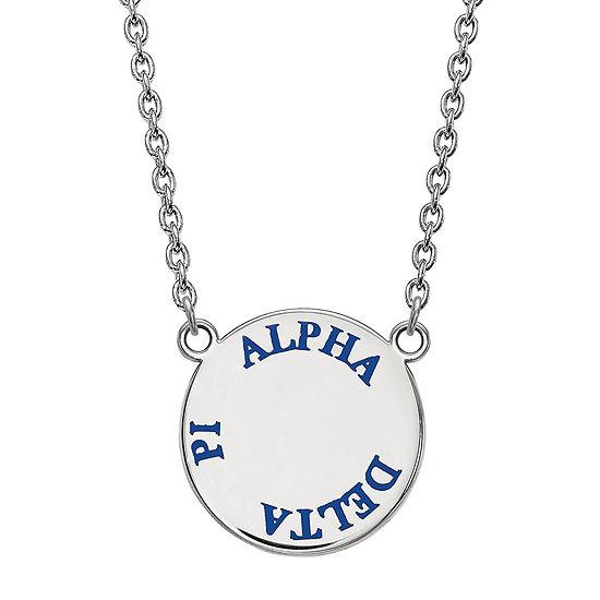 Sterling Silver Enamel Alpha Delta Pi Disc Pendant Necklace