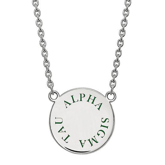 Alpha Sigma Tau Enamel Sterling Silver Disc Necklace