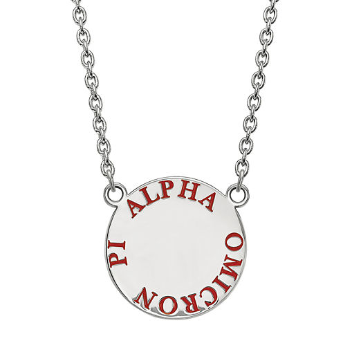 Alpha Omicron Pi Enamel Sterling Silver Disc Pendant Necklace
