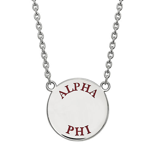 Alpha Phi Enamel Sterling Silver Disc Pendant Necklace