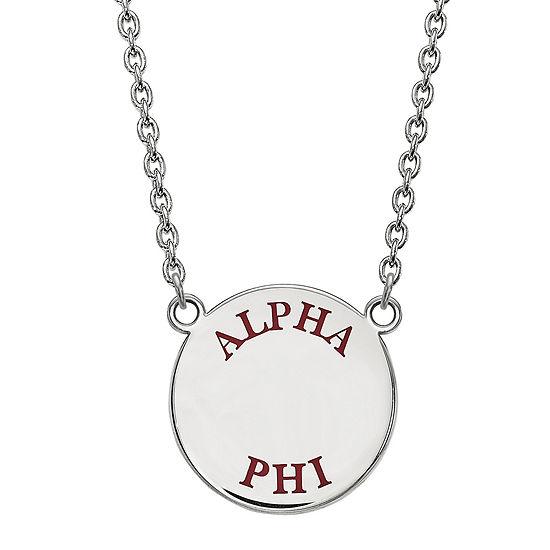Alpha Phi Enamel Sterling Silver Disc Pendant Necklace